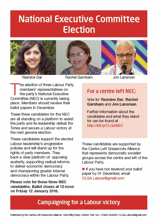 Vote for Centre Left Grassroots NEC